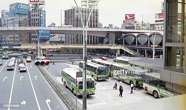 Shibuya Station East Bus Terminal is seen on July 18 1989 in Tokyo Japan A large scale redevelopment around Shibuya station is scheduled as the...