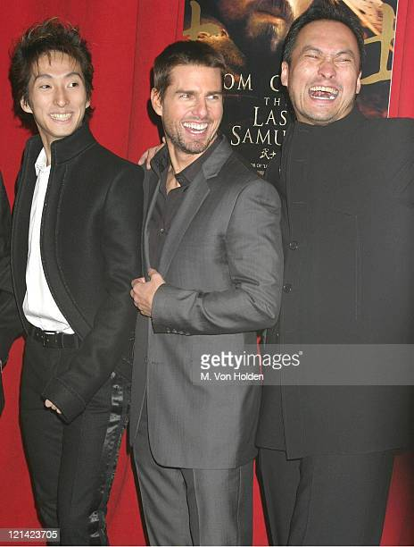 """Shichinosuke Nakamura, Tom Cruise, Ken Watanabe during premiere of """"The Last Samurai"""" at Ziegfeld Theater in New York, New York, United States."""