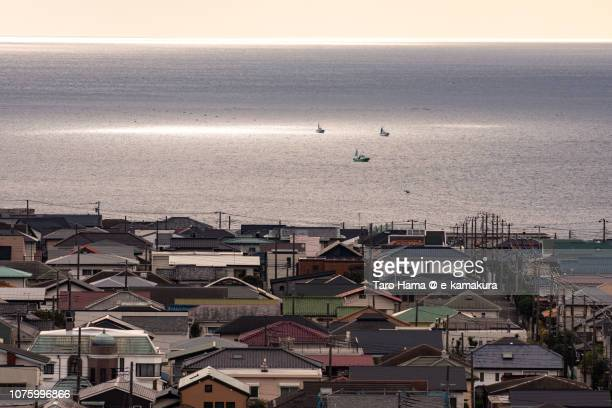 Shichirigahama Higashi residential town by the sea in Kamakura city in Japan