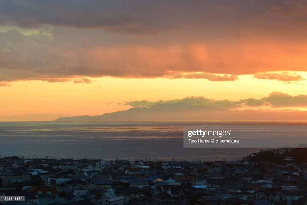 Shichirigahama town by Sagami Bay, Kamakura in Kanagawa prefecture in Japan in the sunset : Stock-Foto