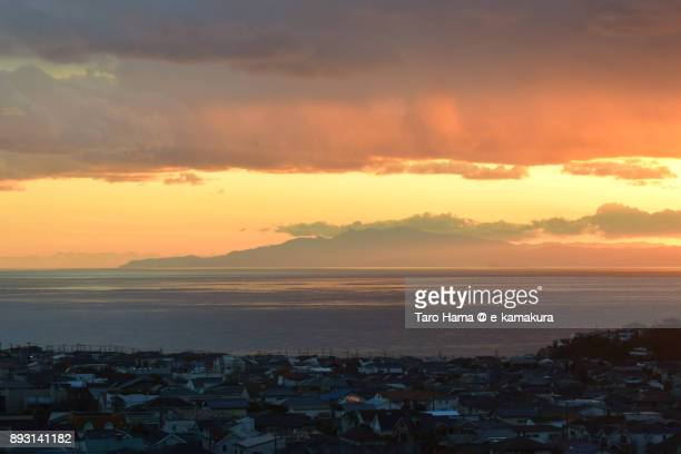 Shichirigahama town by Sagami Bay, Kamakura in Kanagawa prefecture in Japan in the sunset