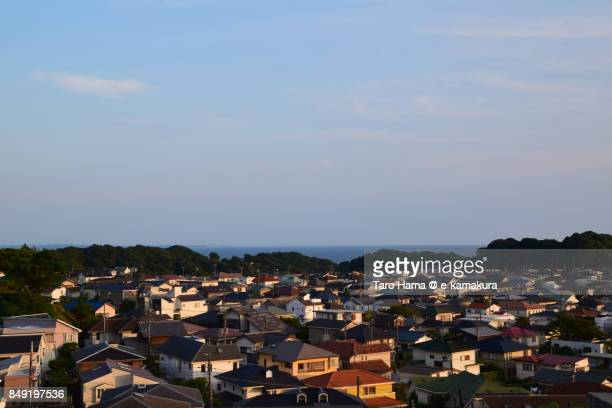 Shichirigahama town in Kamakura city in Kanagawa prefecture in the sunset