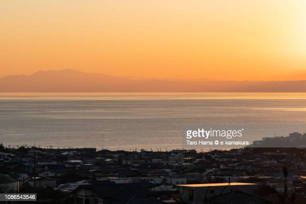 Shichirigahama-Higashi, residential houses by the sea, Pacific Ocean in Japan in the sunset