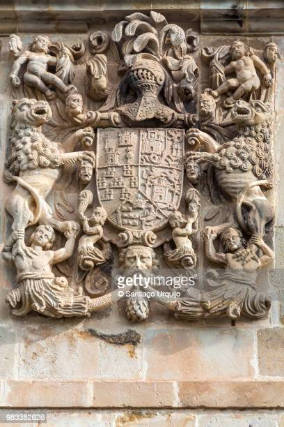 shield carved in stone with the arms of miera, rubalcaba, velasco, riba and agüero - insígnia - fotografias e filmes do acervo