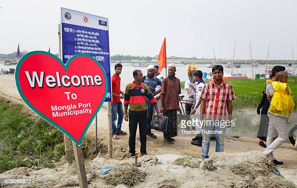 A shield in form of a heart is placed at the entrance of the harbour of Mongla on April 12 2016 in Mongla Bangladesh
