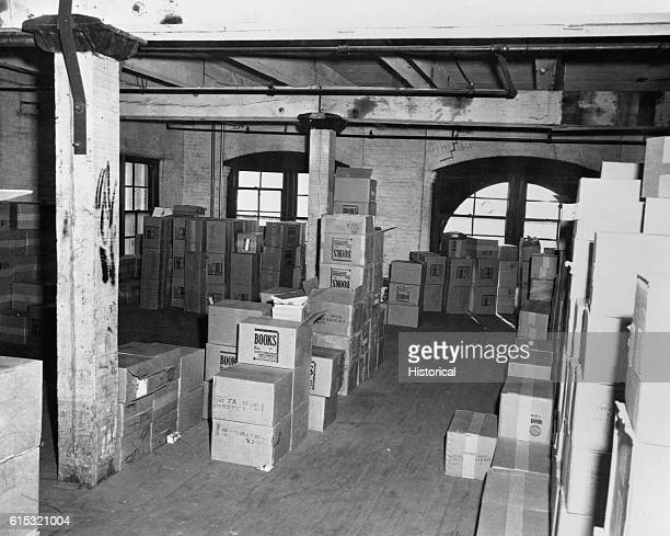 A shield of boxes on the sixth floor of the Texas School Book Depository in Dallas Texas Included as an exhibit for the Warren Commission Ca November...