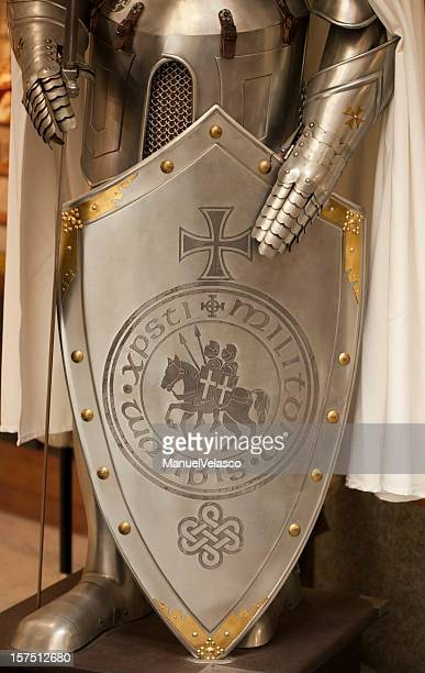 shield of templar knights - maltese cross stock photos and pictures