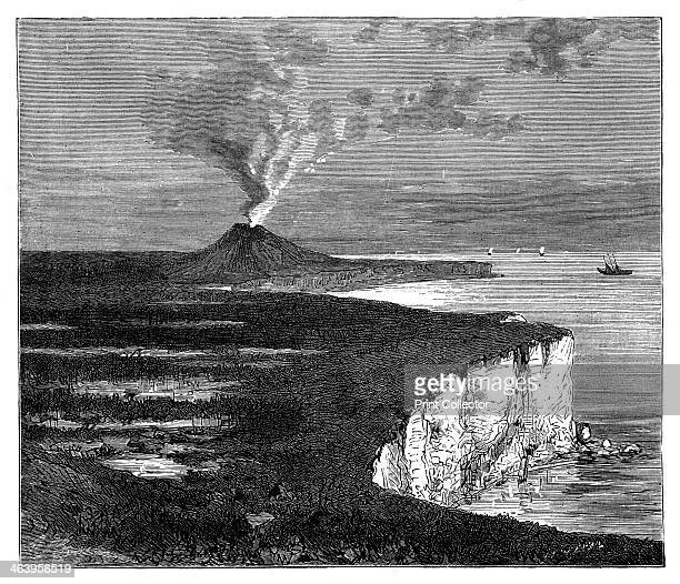 A shield volcano on Reunion island Indian Ocean c1890 A shield volcano is a wide volcano with sides that slope shallowly An engraving from Robert...