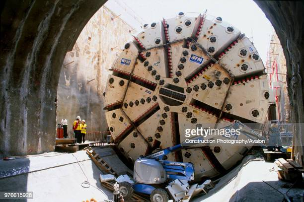Shielded Tunnel boring machine being readied at the start of driving for the Barcelona Line Nine metro project in Spain .