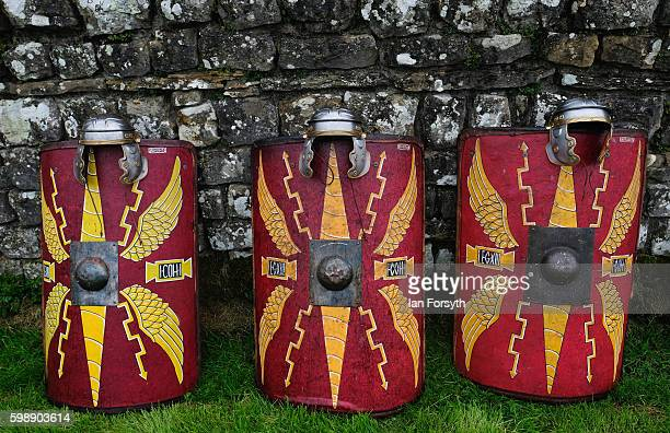 Shields are lined up against the stones as the lives of Roman Legionnaires are reenacted during the Hadrian's Wall Live event at Housesteads Roman...