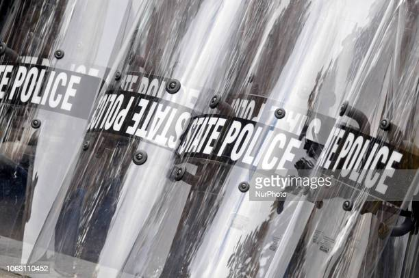 Shields belonging to State Police are lined up at a We The People rally at Independence Mall in Philadelphia PA on November 17 2018 The gathering is...
