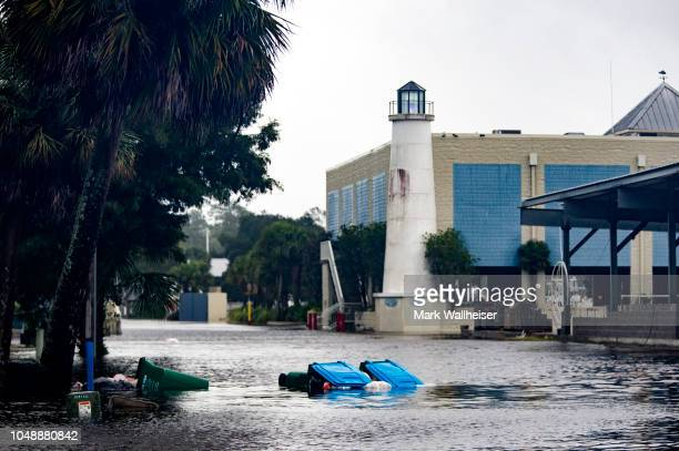 Shields Marina starts taking water in the town of Saint Marks as Hurricane Michael pushes the storm surge up the Wakulla and Saint Marks Rivers which...