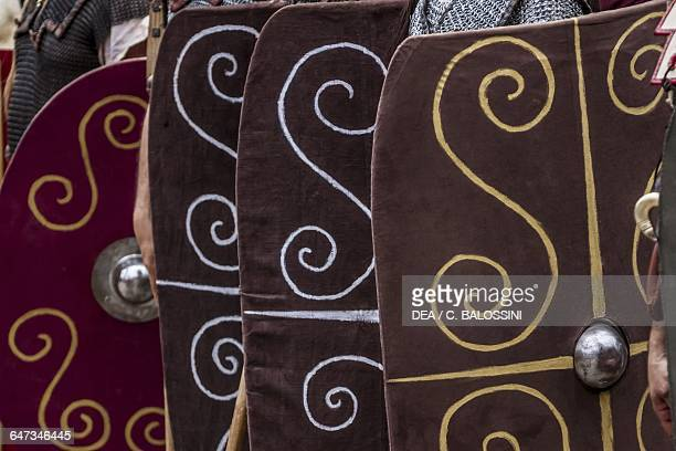 Shields used by Celtic warriors. Celtic civilisation. Historical reenactment.