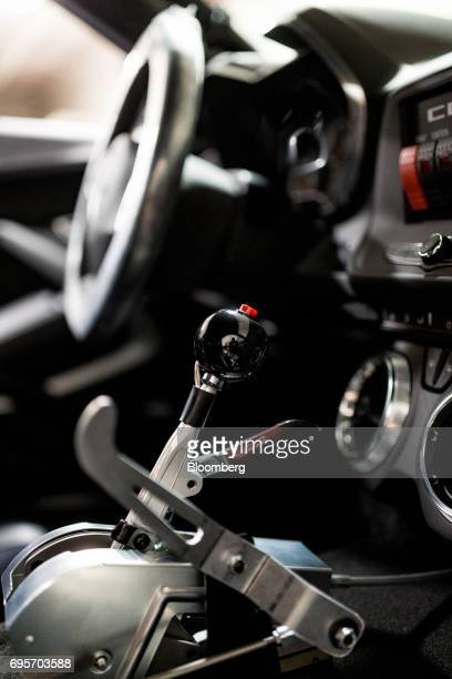 A shifter is seen inside of a General Motors Co Chevrolet COPO Camaro at the company's build center in Oxford Michigan US on Friday April 21 2017 The...