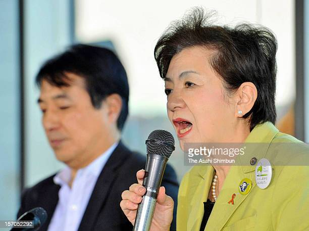Shiga Prefecture governor Yukiko Kada speaks during a press conference to form a new antinuclear party 'Nippon Mirai no To ' on November 27 2012 in...