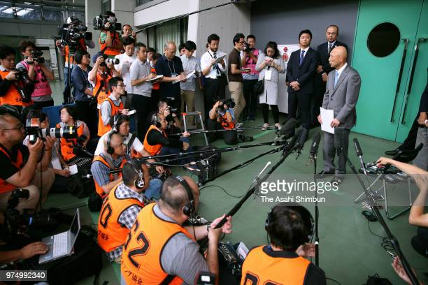 Shigakkan University Wresting team head coach Kazuhito Sakae speaks to media on his power harrassment scandal prior to day one of the All Japan...