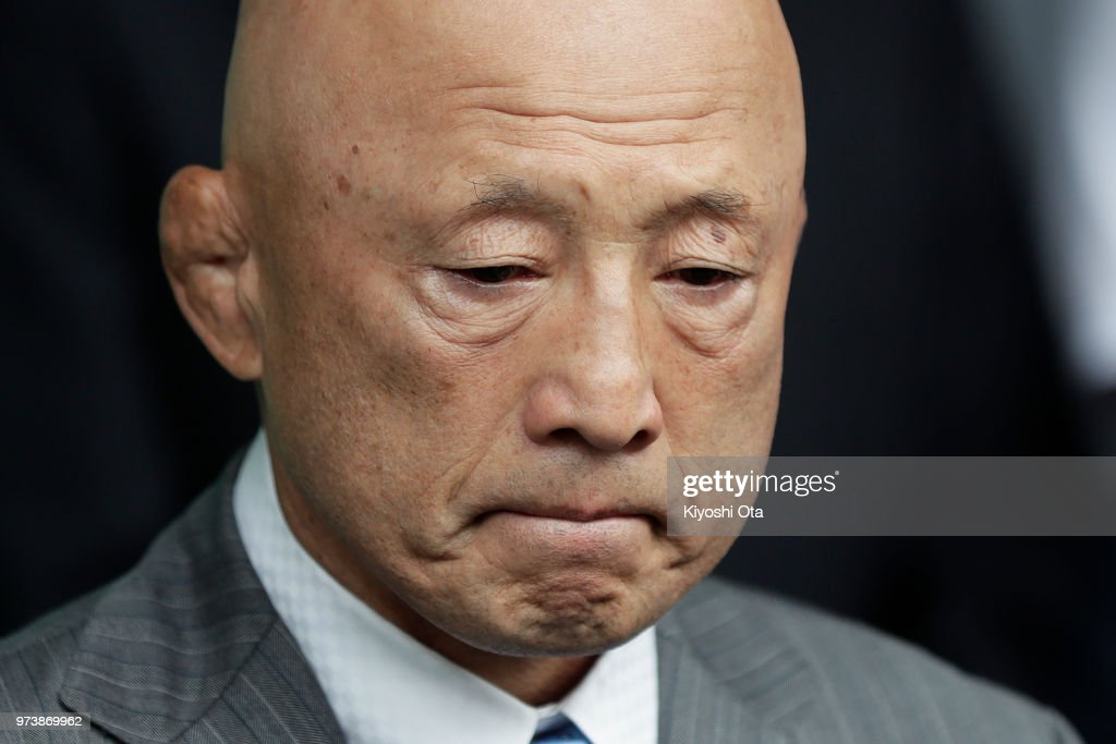 Shigakkan University wrestling team coach and former development director at Japan Wrestling Federation (JWF) Kazuhito Sakae reacts while speaking to members of the media on day one of the All Japan Wrestling Invitational Championships at Komazawa Gymnasium on June 14, 2018 in Tokyo, Japan.