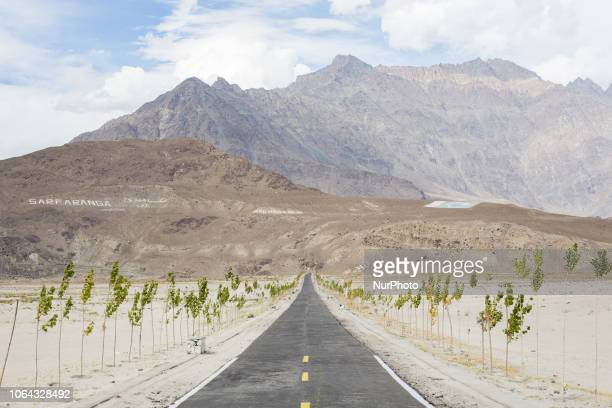 Shigar, Pakistan, 28 September 2018. The road crossing the cold desert toward the Shigar Valley. It is one of the most beautiful valleys in the...
