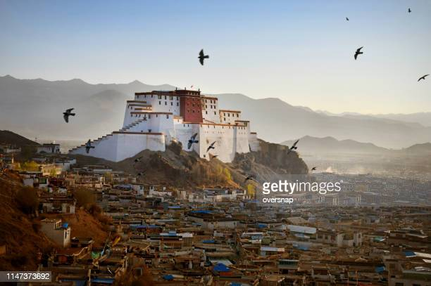 shigatse dzong, gateway to everest - tibet stock pictures, royalty-free photos & images