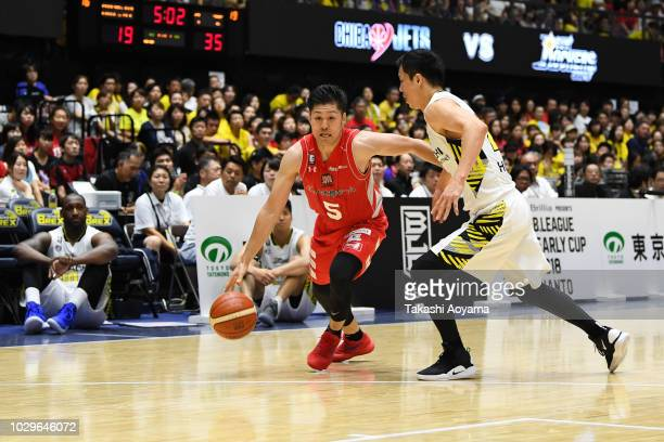 Shigehiro Taguchi of the Chiba Jets drives to the basket during the B.League Early Cup Kanto 3rd Place Game between Chiba Jets and Sun Rockers...