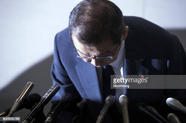 Shigehisa Takada chairman and chief executive officer of Takata Corp bows during a news conference in Tokyo Japan on Monday June 26 2017 Takata filed...