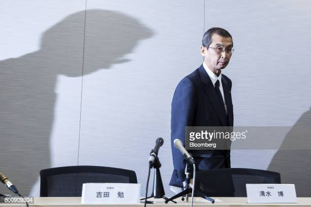 Shigehisa Takada chairman and chief executive officer of Takata Corp leaves following a news conference in Tokyo Japan on Monday June 26 2017 Takata...