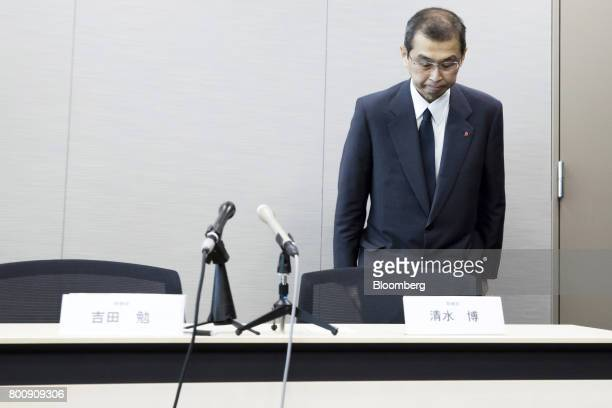 Shigehisa Takada chairman and chief executive officer of Takata Corp bows as he leaves a news conference in Tokyo Japan on Monday June 26 2017 Takata...