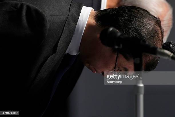Shigehisa Takada chairman and president of Takata Corp bows during a news conference in Tokyo Japan on Thursday June 25 2015 Takada made his first...