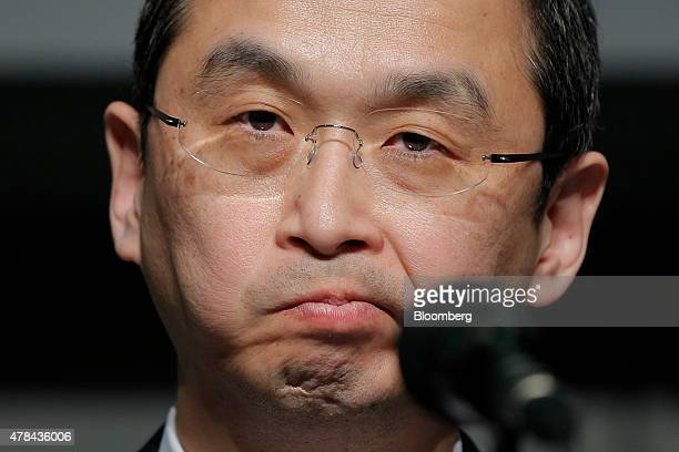 Shigehisa Takada chairman and president of Takata Corp pauses during a news conference in Tokyo Japan on Thursday June 25 2015 Takada made his first...
