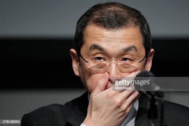 Shigehisa Takada chairman and president of Takata Corp reacts during a news conference in Tokyo Japan on Thursday June 25 2015 Takada made his first...