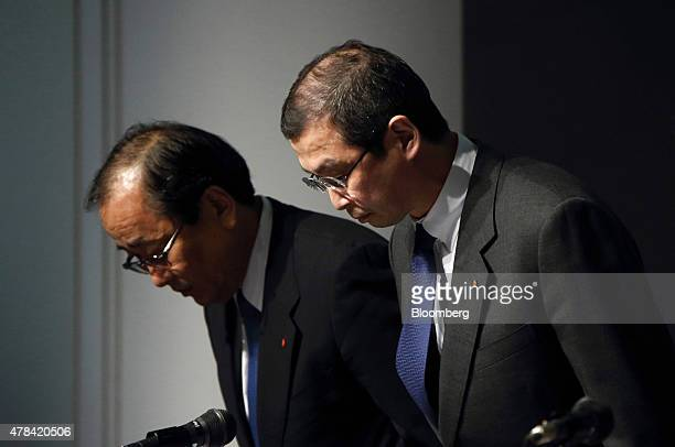 Shigehisa Takada chairman and president of Takata Corp right and Hiroshi Shimizu executive vice president bow during a news conference in Tokyo Japan...