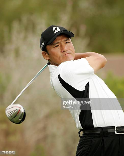 Shigeki Maruyama at the 11th tee box during the second round of the Fryscom Open benefiting Shriners Hospitals for Children at TPC Canyons on October...
