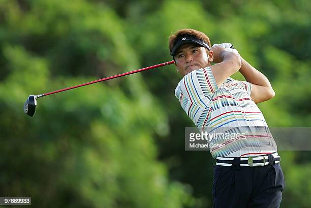 Shigeki Maruyama of Japan hits a drive during the continuation of the first round of the Puerto Rico Open presented by Banco Popular at Trump...