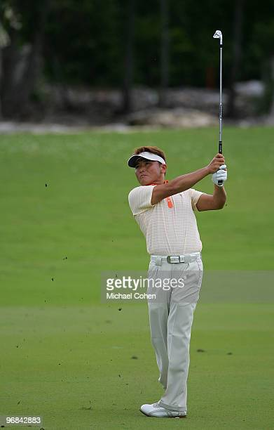 Shigeki Maruyama of Japan plays a shot during the first round of the Mayakoba Golf Classic at El Camaleon Golf Club held on February 18 2010 in...