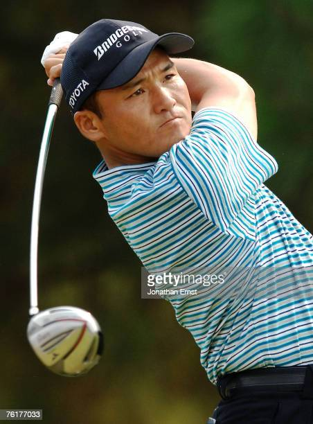 Shigeki Maruyama of Japan plays his shot from the second tee during the final round of the Wyndham Championship at Forest Oaks Country Club on August...