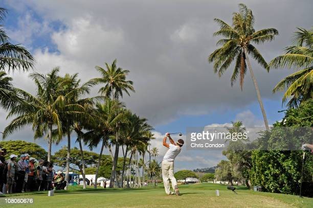 Shigeki Maruyama of Japan tees off on the 18th hole during the second round of the Sony Open in Hawaii held at Waialae Country Club on January 15...