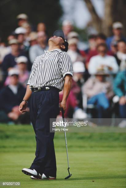 Shigeki Maruyama of the Japan reacts to a missed putt during the Buick Invitational golf tournament on 13 February 2000 at theTorrey Pines Golf...