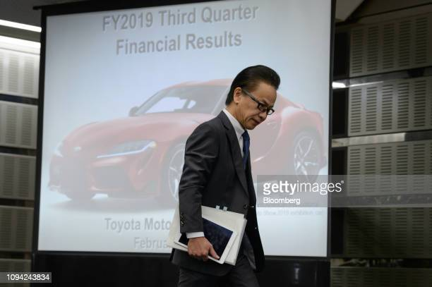 Shigeki Tomoyama executive vice president of Toyota Motor Corp leaves a news conference in Tokyo Japan on Wednesday Feb 6 2019 Toyota cut its...