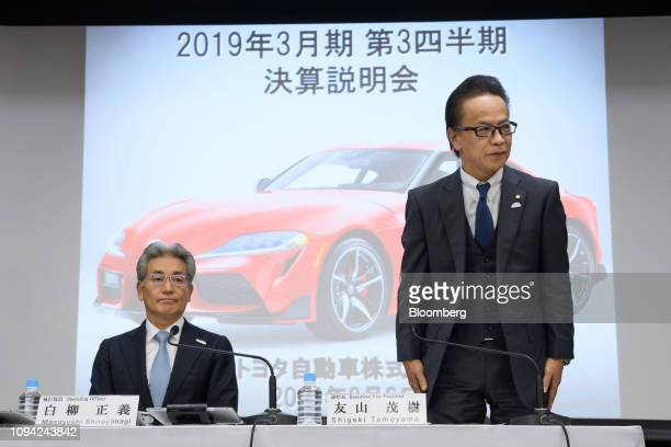 Shigeki Tomoyama executive vice president of Toyota Motor Corp right and Masayoshi Shirayanagi company's operating officer attend a news conference...