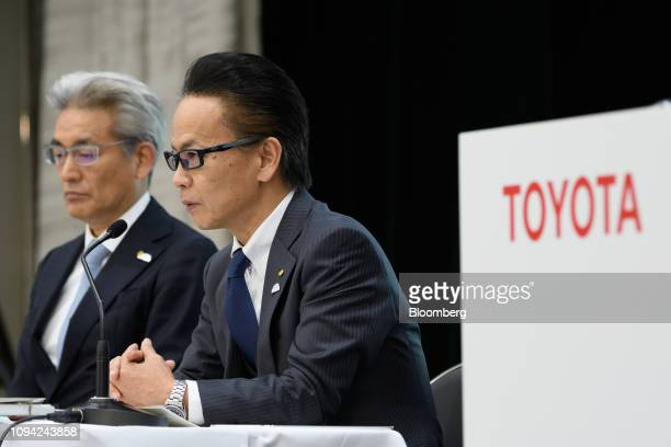 Shigeki Tomoyama executive vice president of Toyota Motor Corp right speaks as Masayoshi Shirayanagi company's operating officer looks on during a...