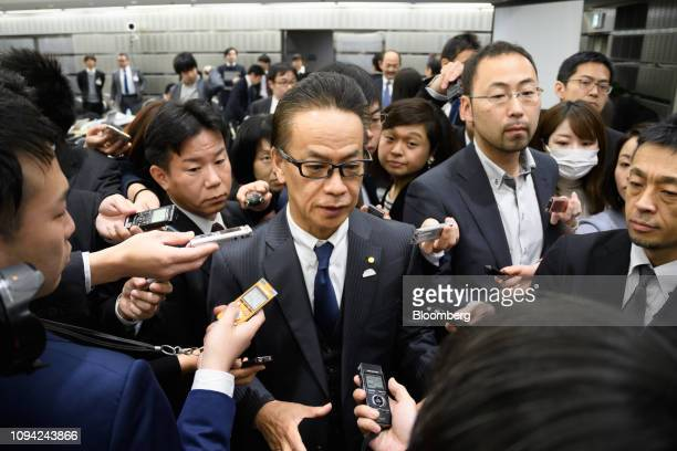 Shigeki Tomoyama executive vice president of Toyota Motor Corp speaks to members of the media after a news conference in Tokyo Japan on Wednesday Feb...