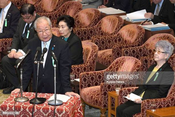 Shigeo Iizuka speaks during a parliamentary committee hearing with representatives of families of Japanese nationals abducted by North Korea at the...