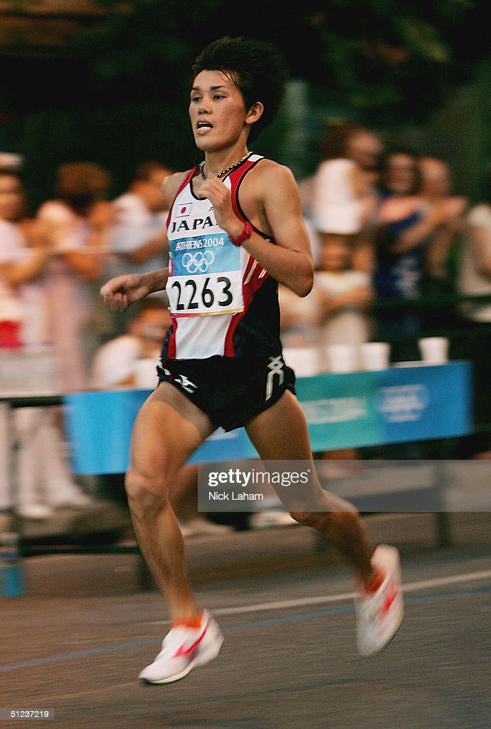 Shigeru Aburaya of Japan runs in the men's marathon on August 29, 2004 during the Athens 2004 Summer Olympic Games at Panathinaiko Stadium in Athens, Greece.