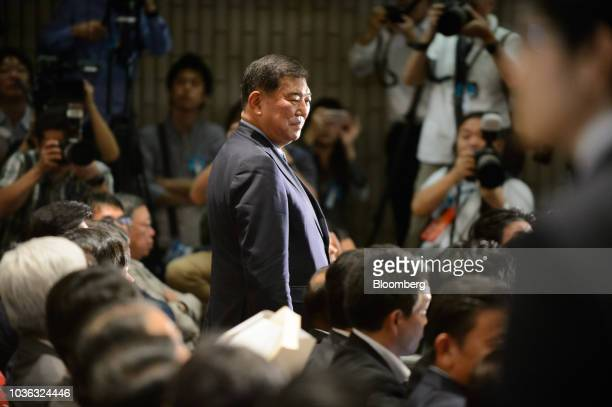 Shigeru Ishiba Japan's former defense minister arrives for the Liberal Democratic Party's presidential election at its headquarters in Tokyo Japan on...