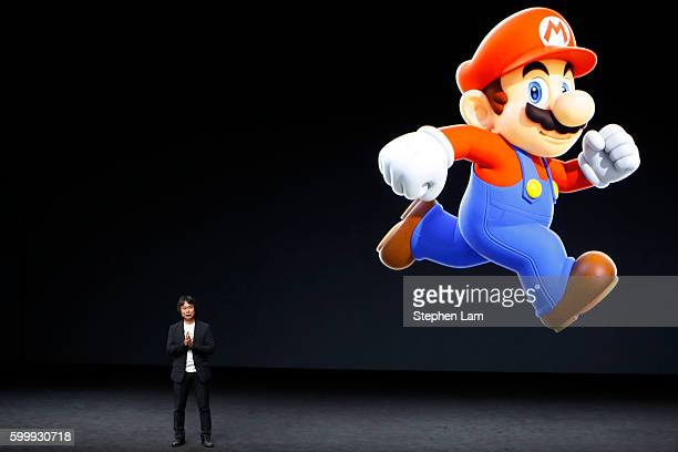 Shigeru Miyamoto, creative fellow at Nintendo and creator of Super Mario, speaks on stage during an Apple launch event on September 7, 2016 in San...