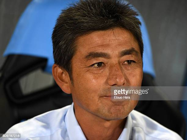 Shigetoshi Hasebecoach of JEF United Chiba looks on prior to the Emperor's Cup third round match between Kawasaki Frontale and JEF United Chiba at...