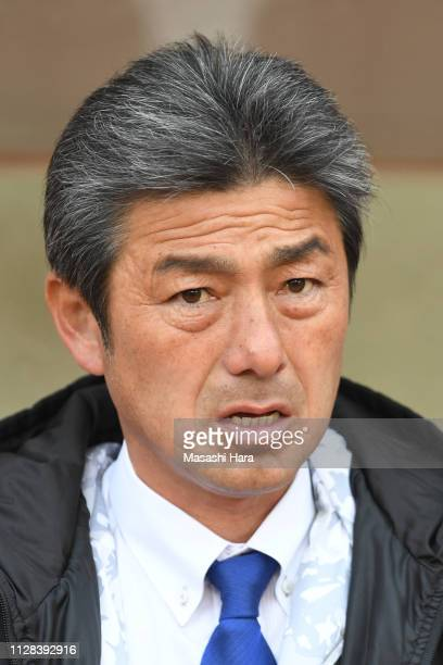 Shigetoshi Hasebecoach of Mito HollyHock looks on prior to the preseason friendly match between Kashima Antlers and Mito HollyHock at Kashima Soccer...