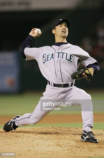 Shigetoshi Hasegawa of the Seattle Mariners pitches against the Los Angeles Angels of Anaheim at Angel Stadium on April 18 2005 in Anaheim California...
