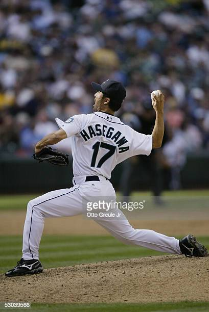 Shigetoshi Hasegawa of the Seattle Mariners pitches against the Los Angeles Angels of Anaheim on May 4 2005 at Safeco Field in Seattle Washington