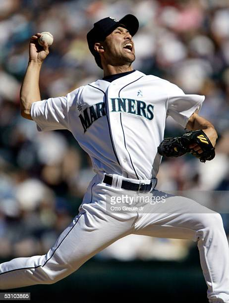 Shigetoshi Hasegawa of the Seattle Mariners pitches against the New York Mets on June 19 2005 at Safeco Field in Seattle Washington The Mariners...
